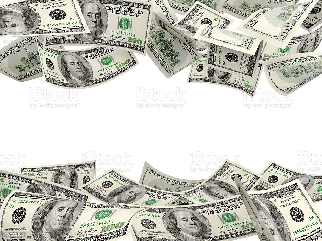 US Dollar Hundred Bills Floating In Air stock photo