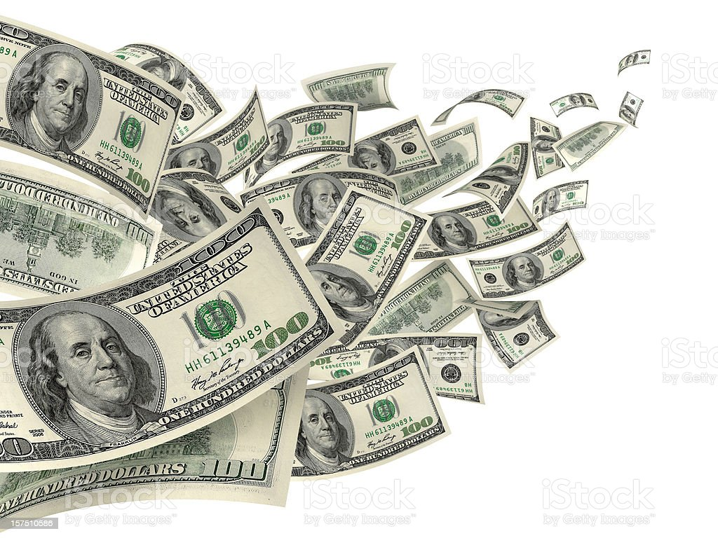 US Dollar Hundred Bills In Wind stock photo