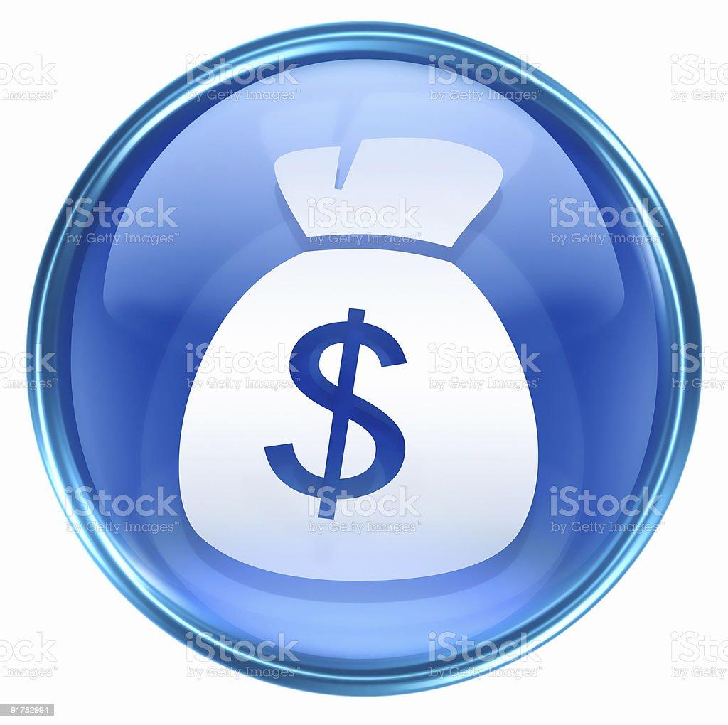 dollar icon blue, isolated on white background. stock photo