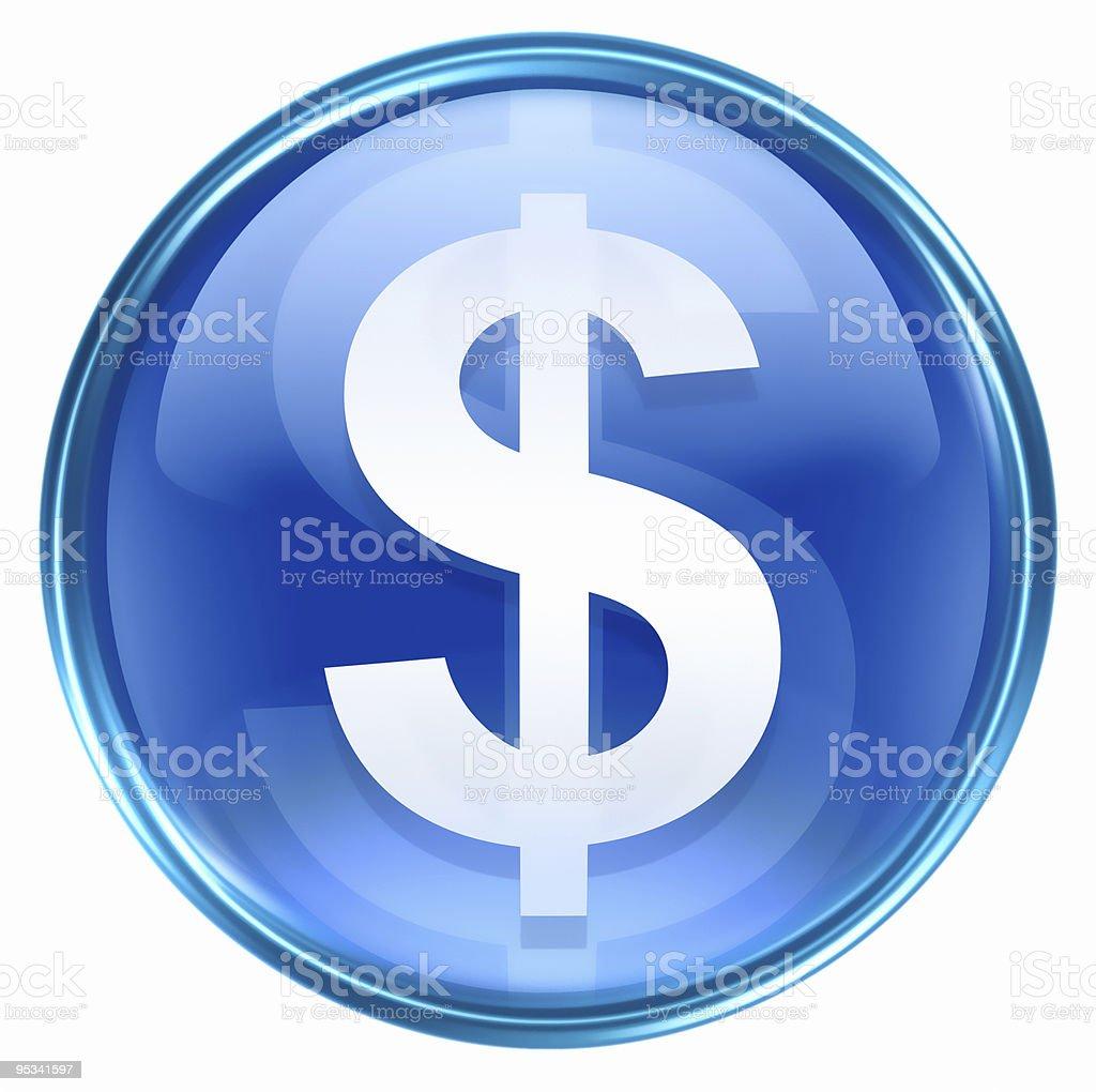 dollar icon blue, isolated on white background stock photo