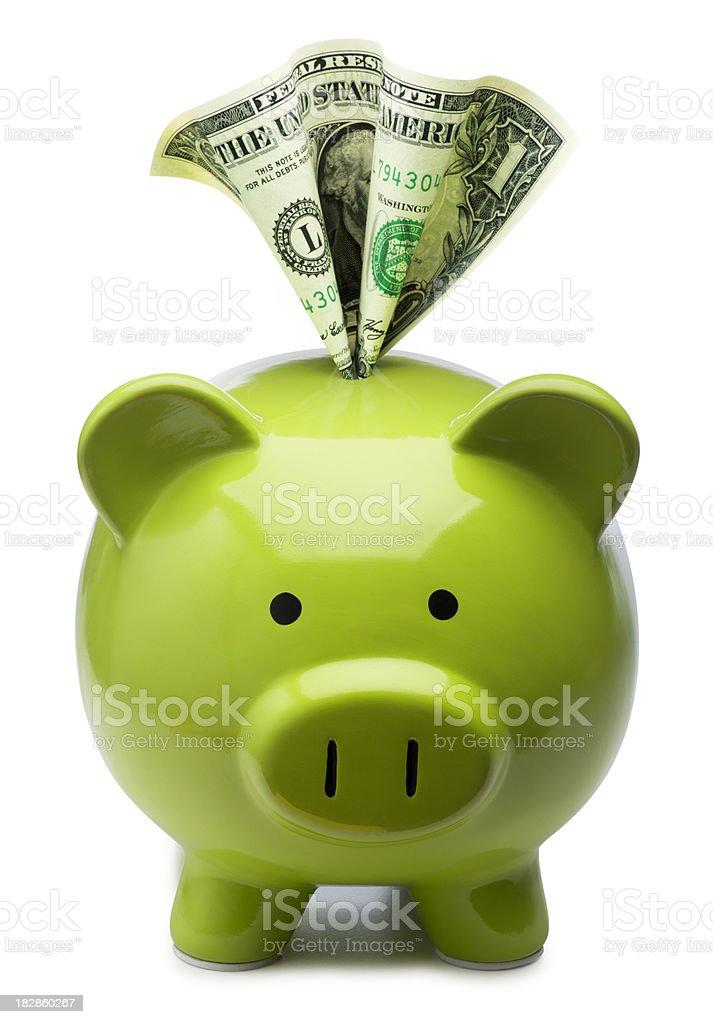 Dollar in a Piggy Bank stock photo