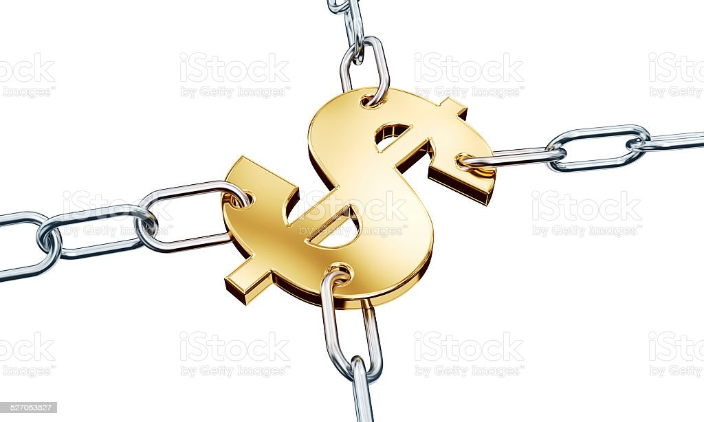 Dollar in chains stock photo