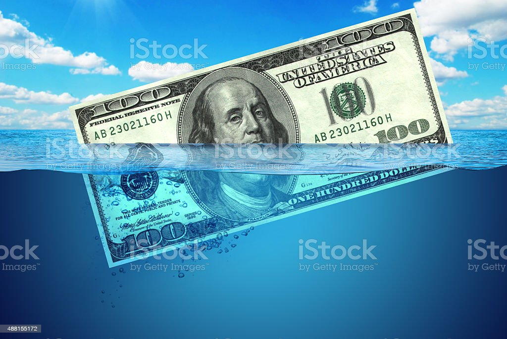 Dollar in water manipulation for economic symbols stock photo