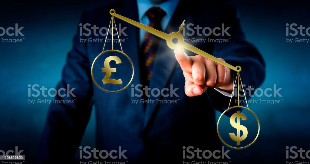 Dollar Is Outbalancing The British Pound Sterling stock photo