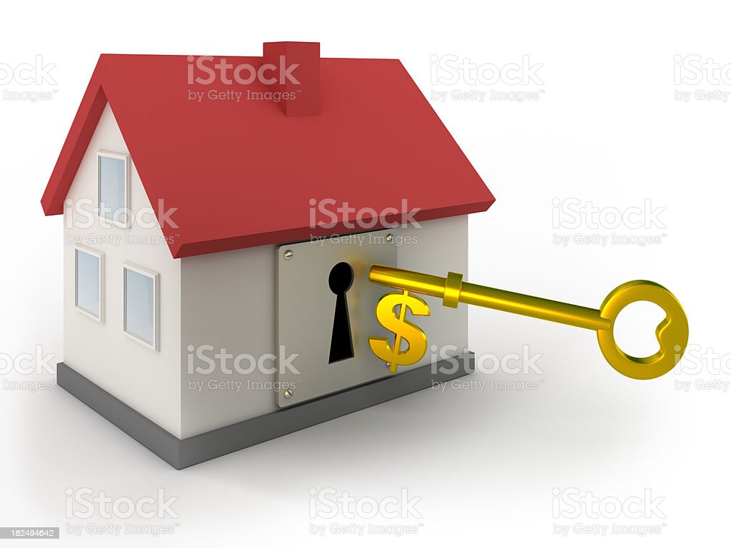 Dollar key to new home - isolated with clipping path royalty-free stock photo