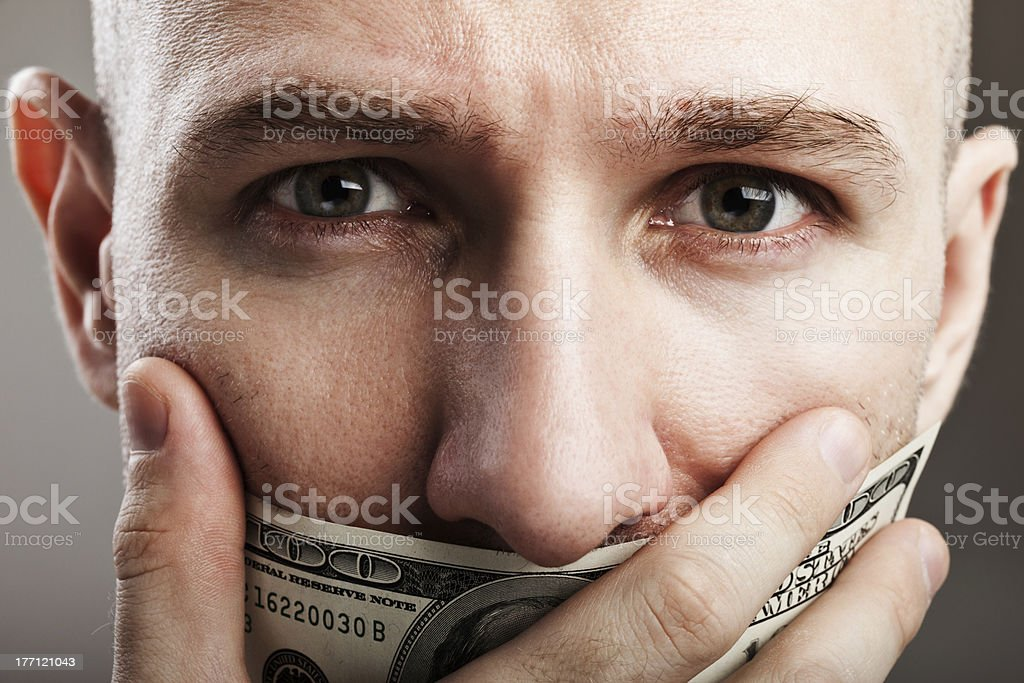 Dollar money gag shut voiceless man stock photo