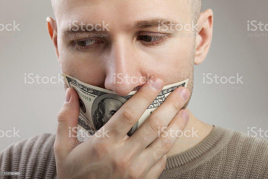 Dollar money gag shut voiceless men royalty-free stock photo