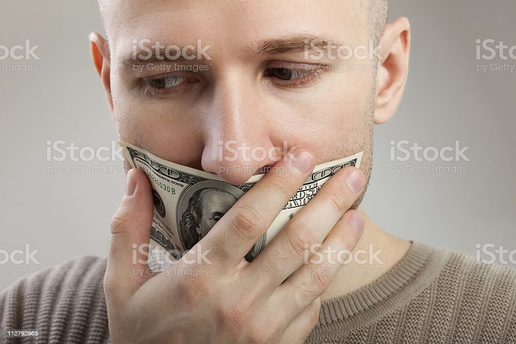 Dollar money gag shut voiceless men stock photo
