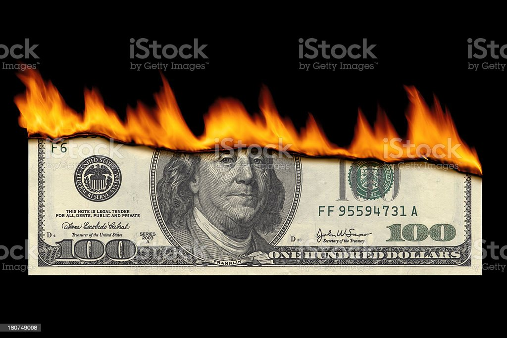 Dollar Note Burning stock photo