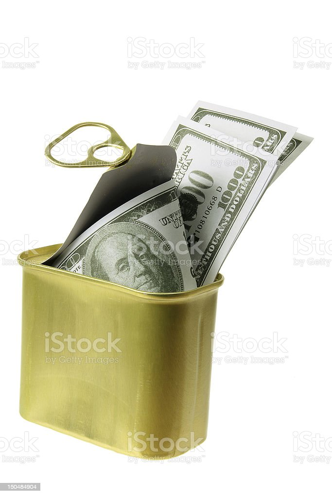 Dollar Notes in Tin Can royalty-free stock photo