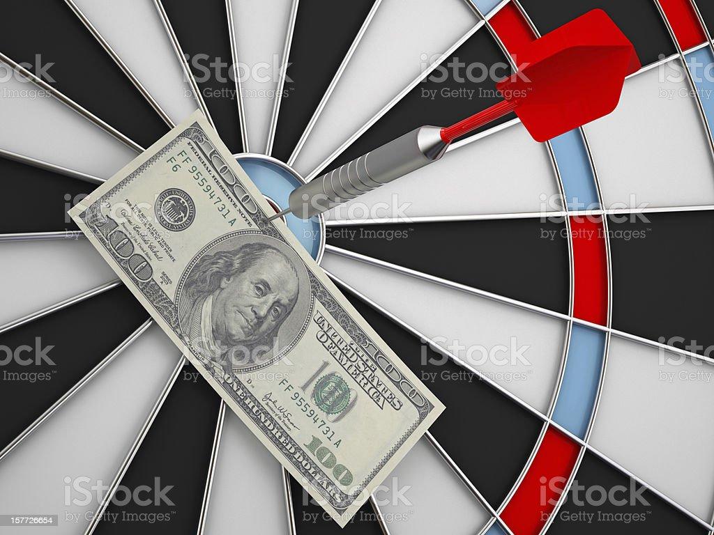Dollar on Bull's-Eye stock photo