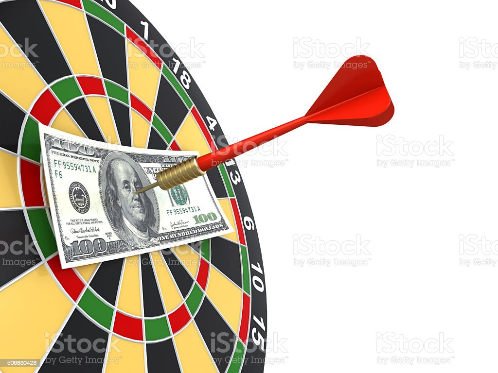 dollar on bullseye stock photo