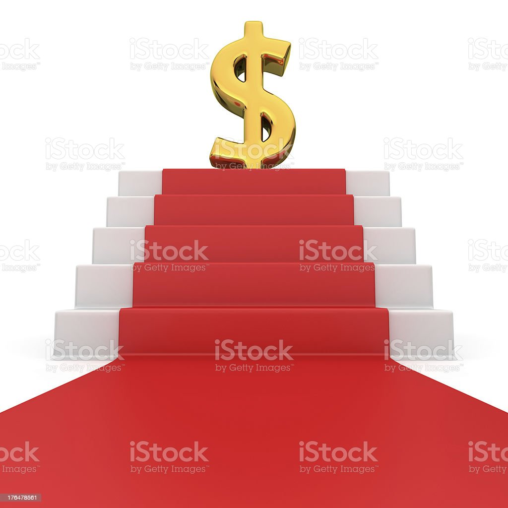 Dollar on red carpet royalty-free stock photo