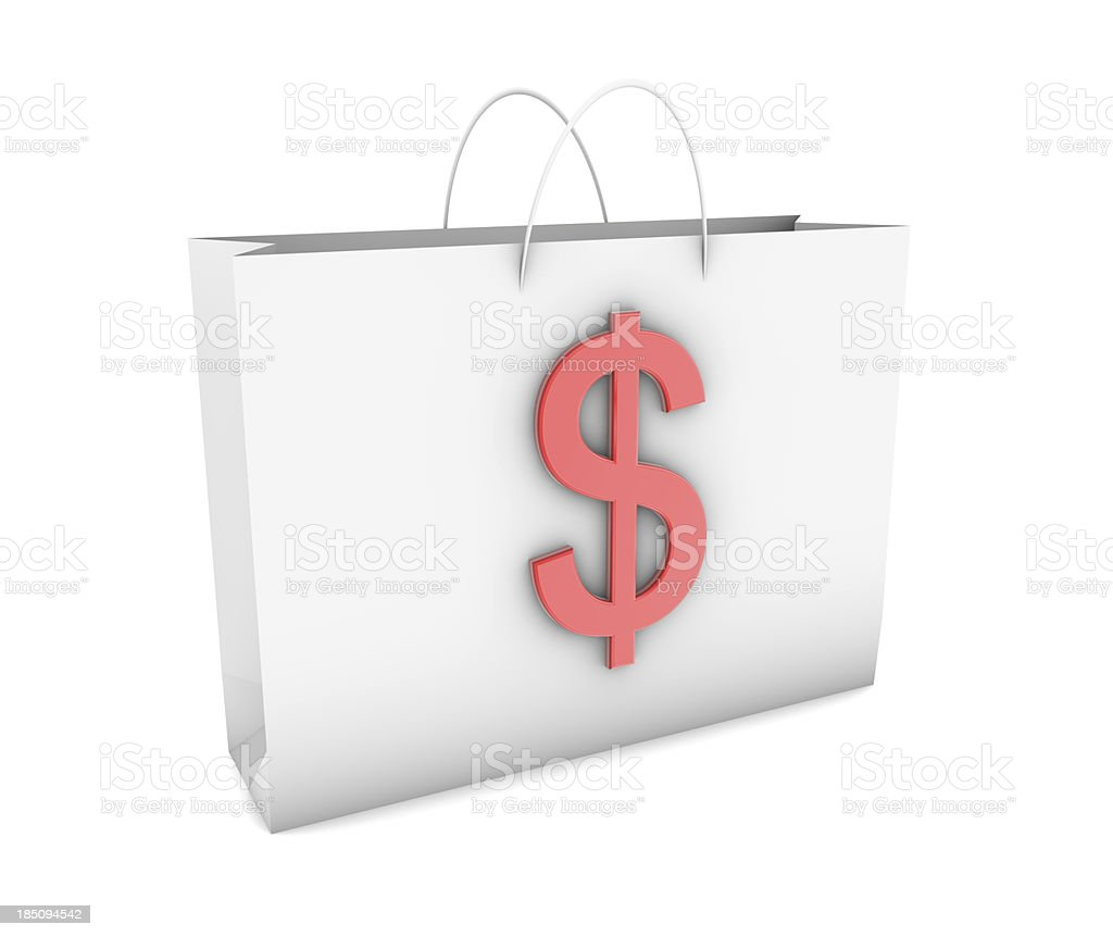 Dollar on Shopping Bag stock photo