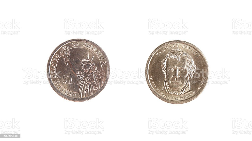 dollar one coin obverse revers isolated stock photo
