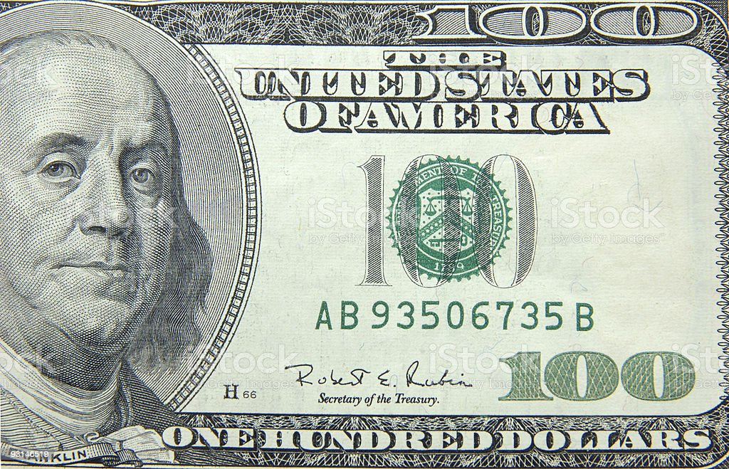 US dollar one hundred bill royalty-free stock photo