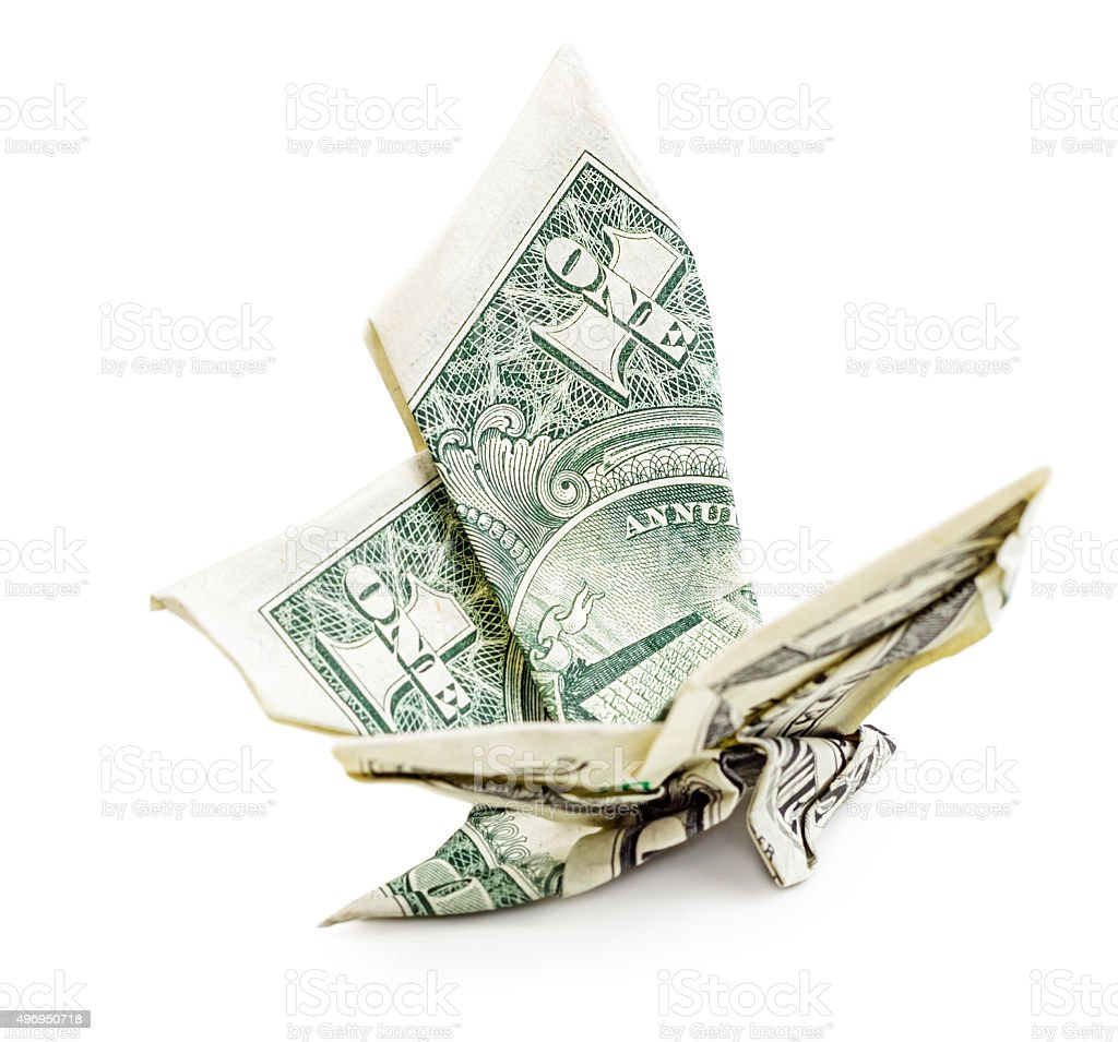 Dollar origami butterfly isolated side view stock photo