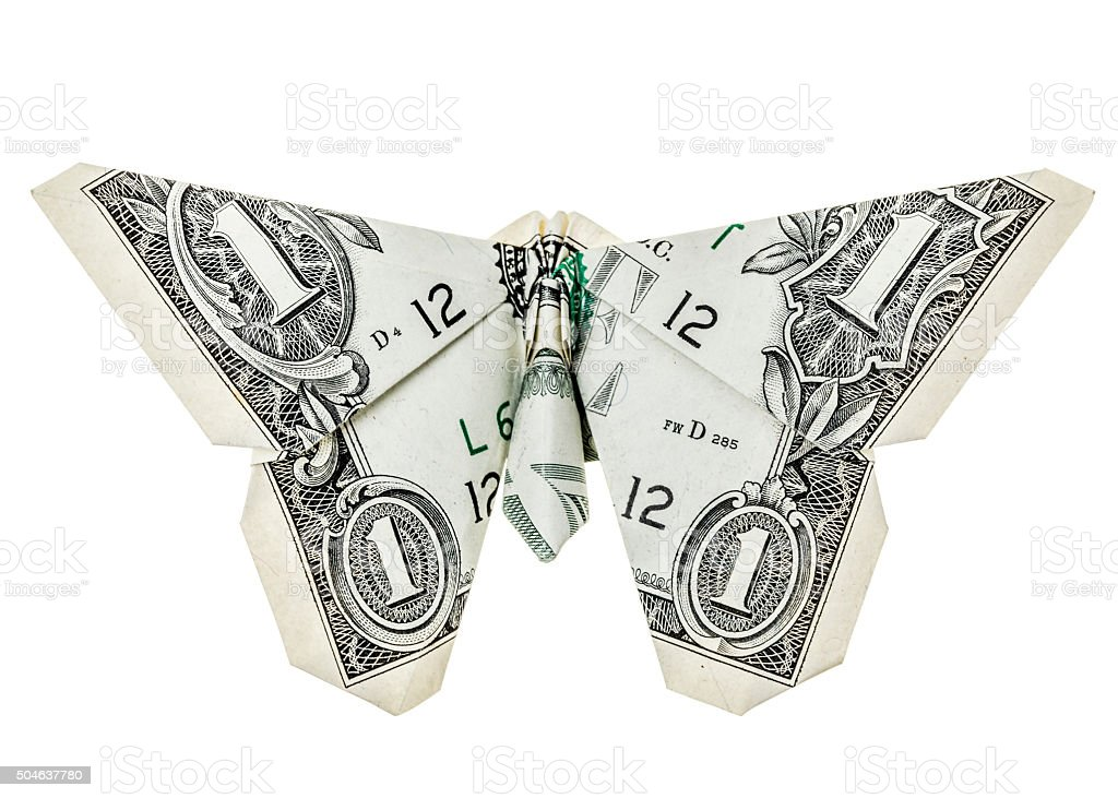 Dollar origami butterfly stock photo