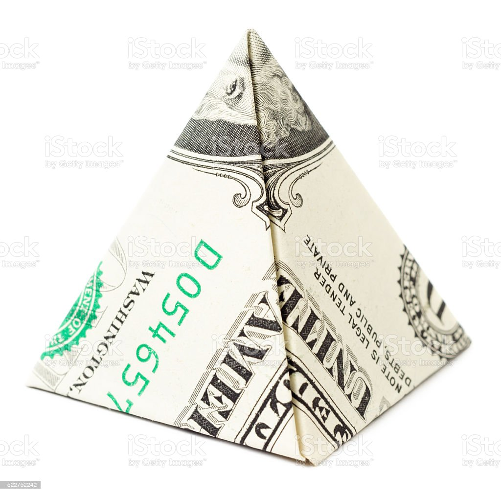 Dollar origami pyramid isolated stock photo