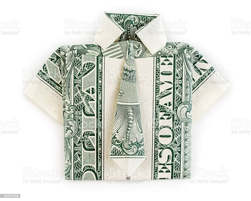 Dollar origami shirt and tie isolated stock photo