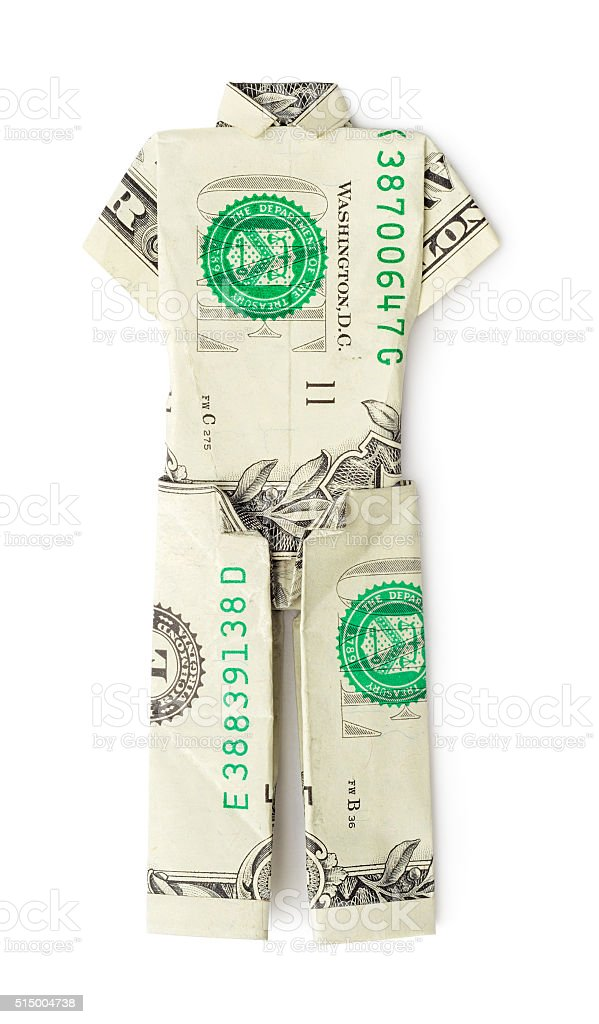 Dollar origami t-shirt with pants isolated stock photo