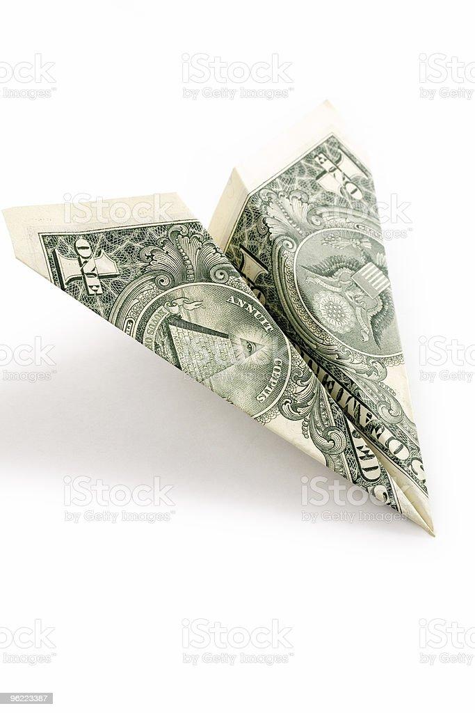 dollar paper airplane stock photo