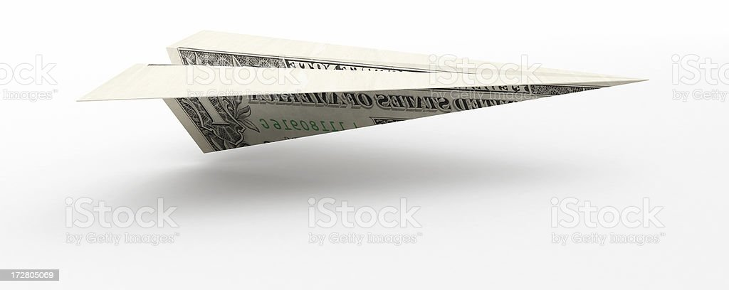 3D Dollar Paper Plane royalty-free stock photo