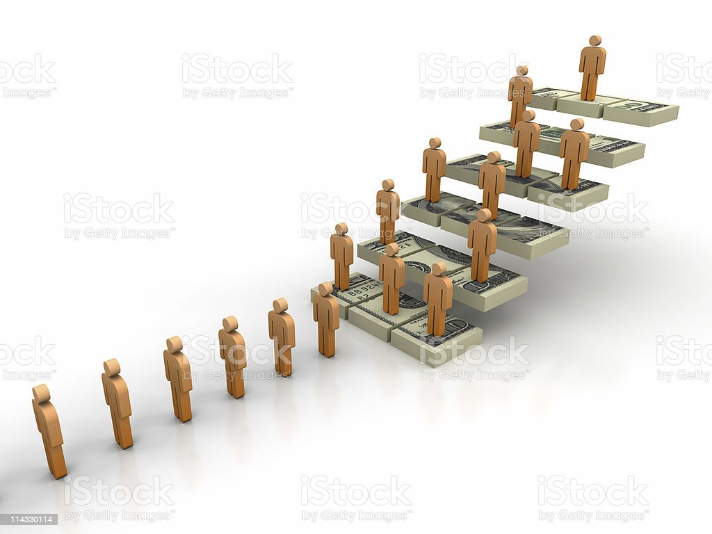 Dollar Parts Stair with People royalty-free stock photo
