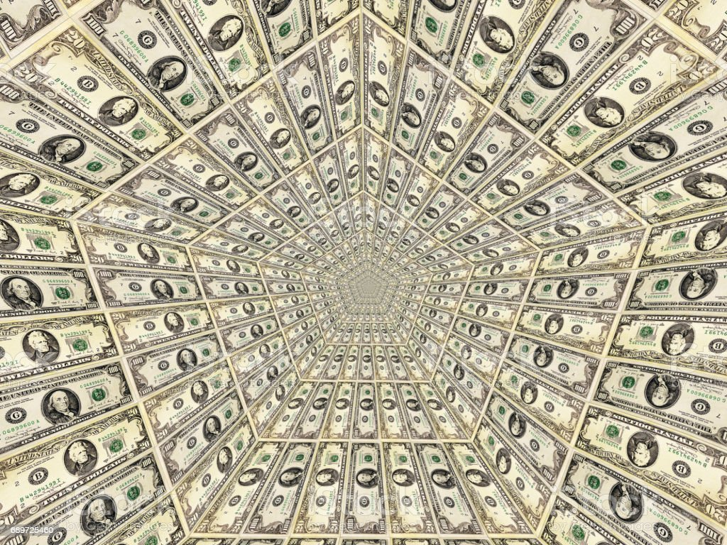 dollar pattern with flame on the background stock photo