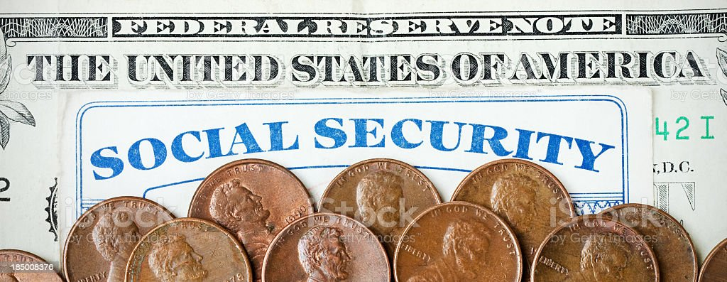 Dollar, Pennies and Social Security royalty-free stock photo