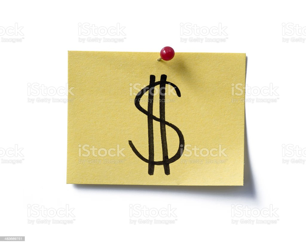 US Dollar. Post-it. royalty-free stock photo