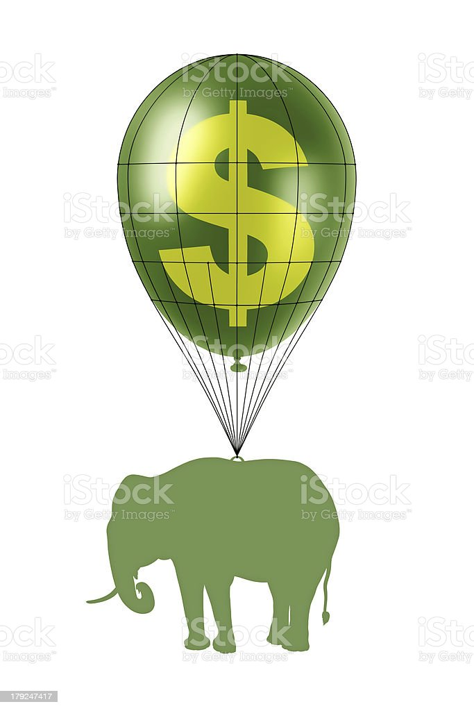dollar power and elephant royalty-free stock photo