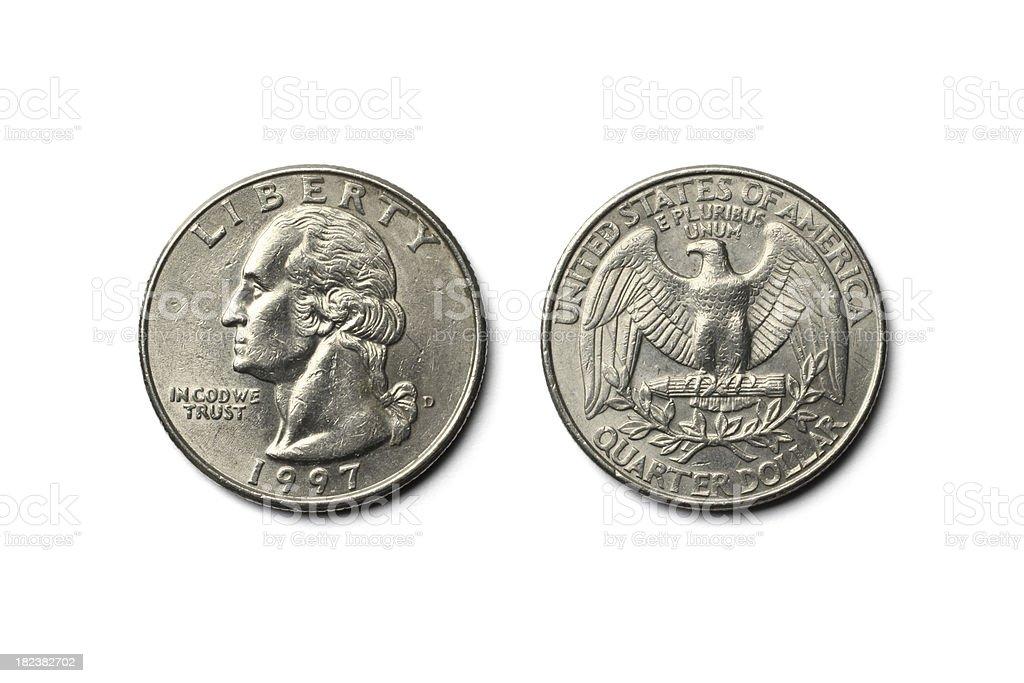 US Dollar Quarter Coin stock photo