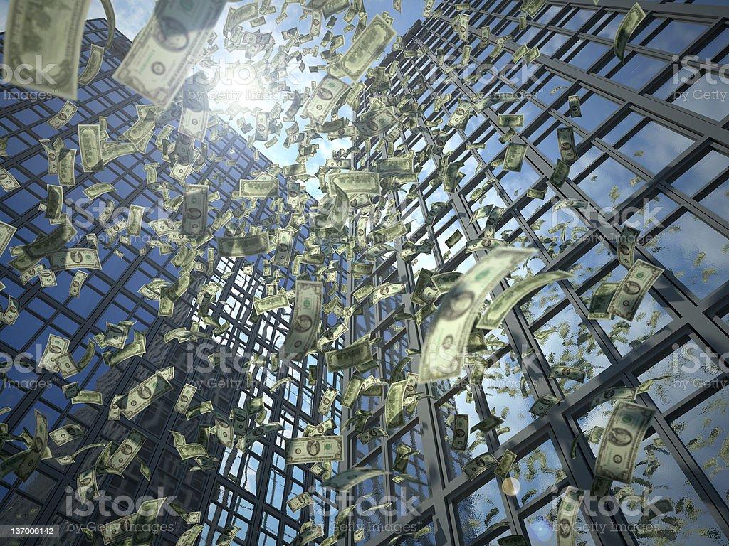 Dollar rain (value destruction) stock photo
