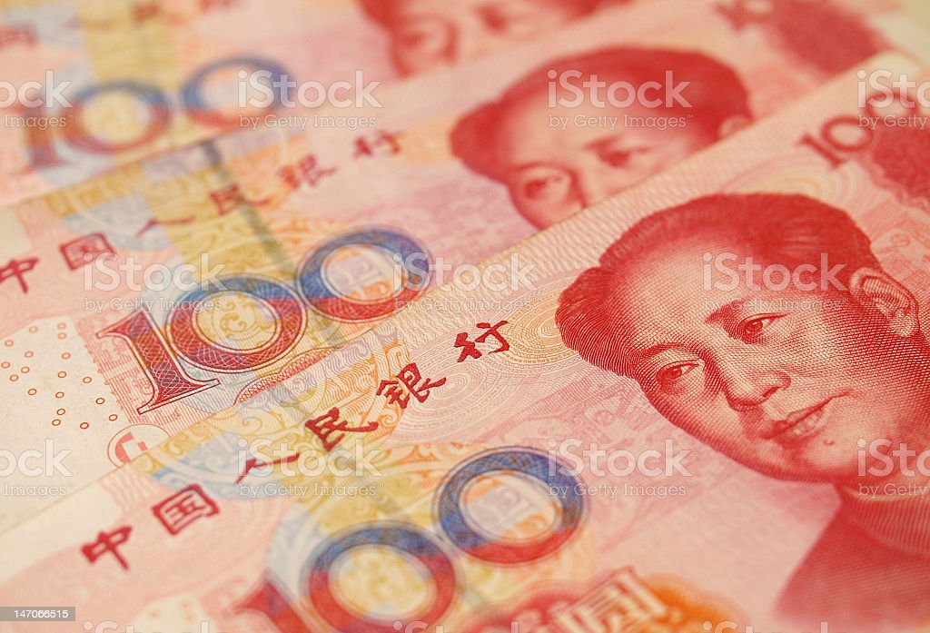 100 dollar RMB Chinese currency royalty-free stock photo