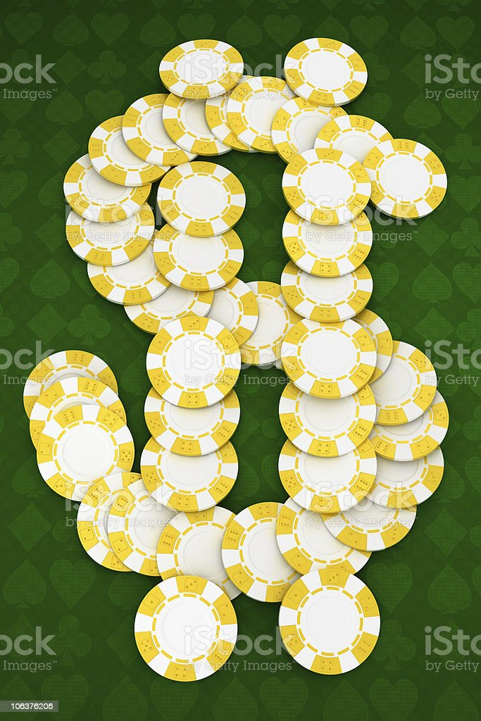 Dollar shaped Casino or roulette chips royalty-free stock photo