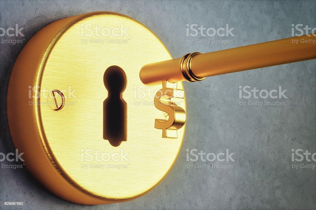 Dollar Shaped Key And Keyhole stock photo