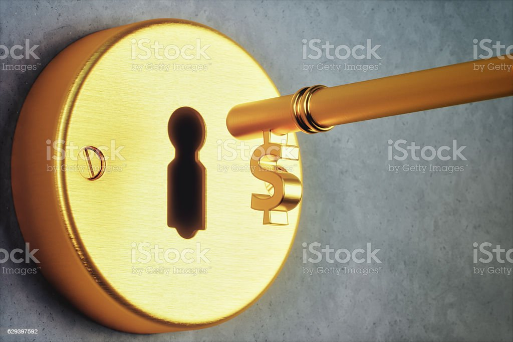 Dollar Shaped Key And Keyhole stock photo