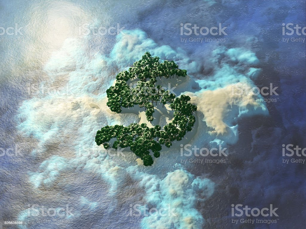 Dollar shaped tropical island. stock photo