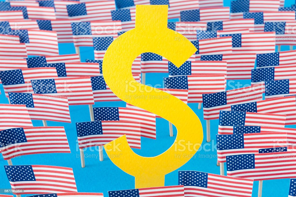 Dollar sign and american flags stock photo
