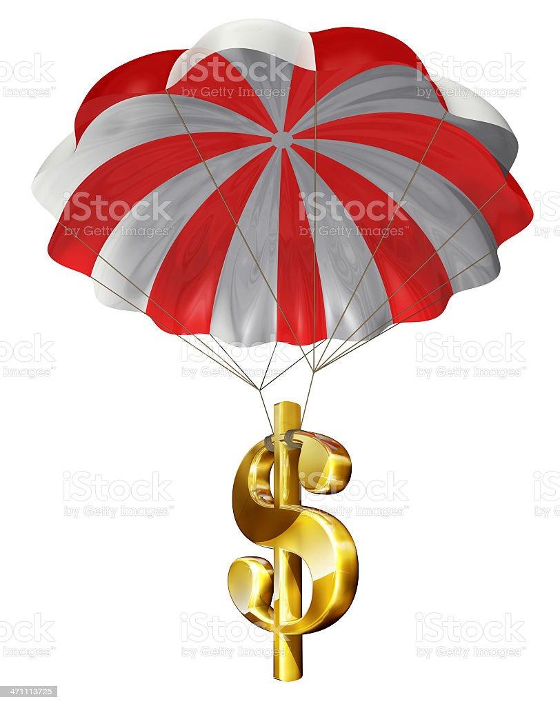 Dollar Sign and Parachute stock photo
