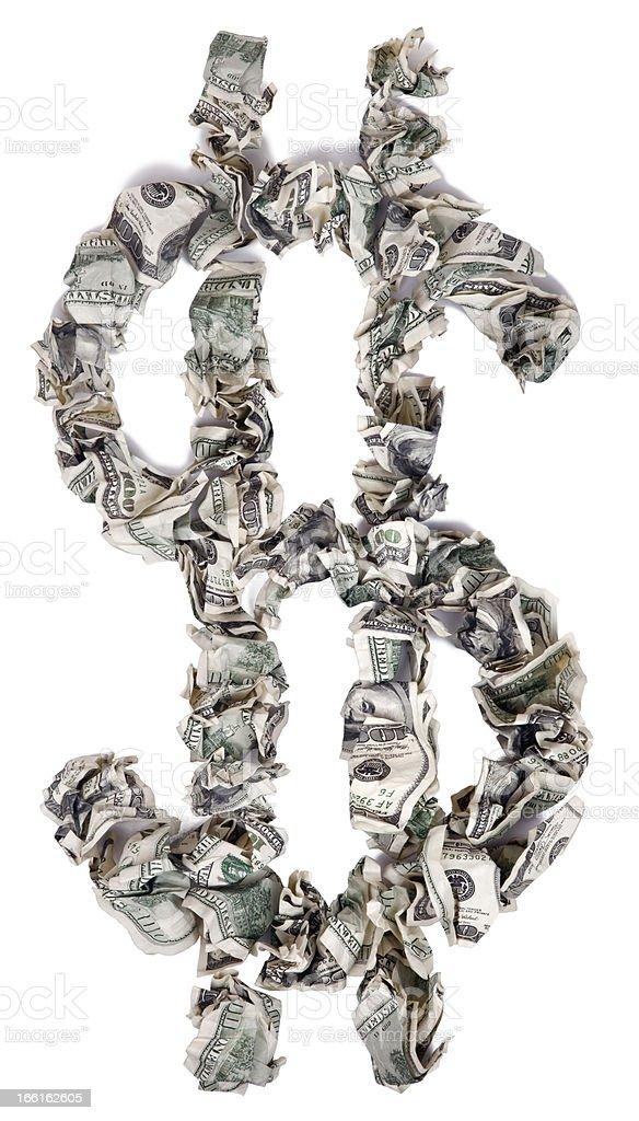Dollar Sign $ - Crimped 100$ Bills royalty-free stock photo