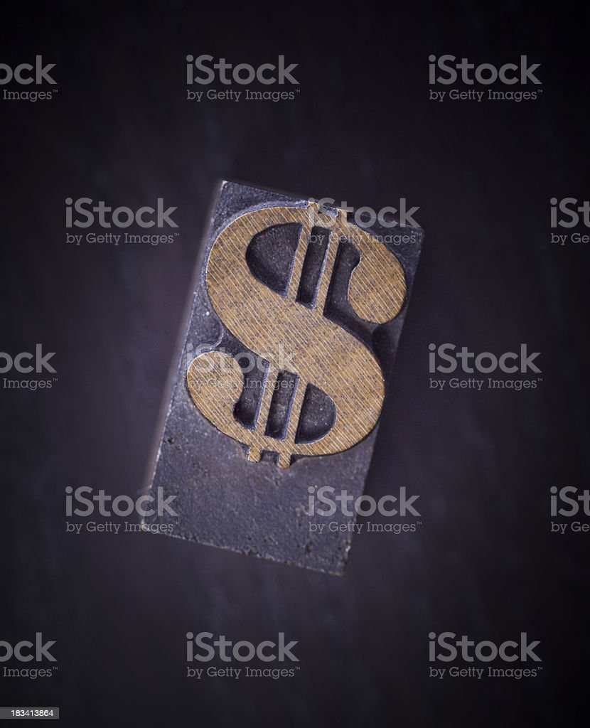 Dollar sign in letterpress royalty-free stock photo