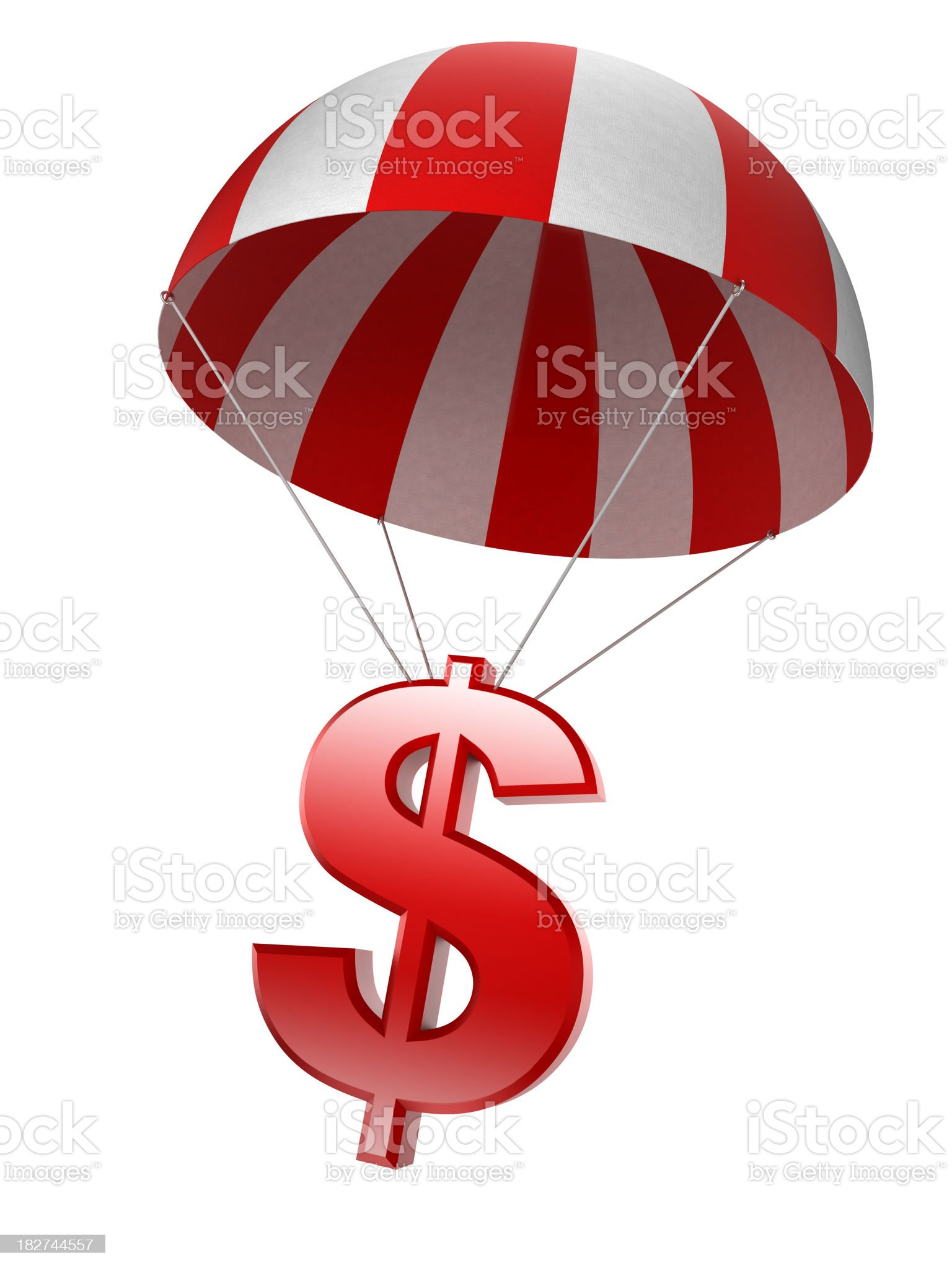 Dollar sign in parachute - isolated with clipping path royalty-free stock photo