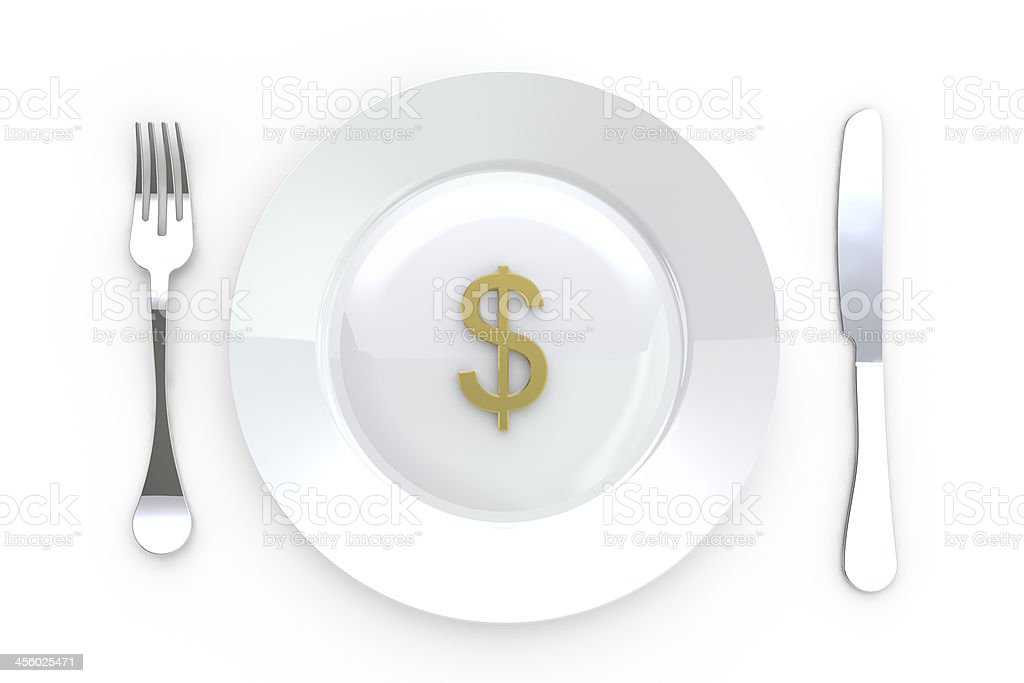 Dollar Sign in Plate with Knife and Fork royalty-free stock photo