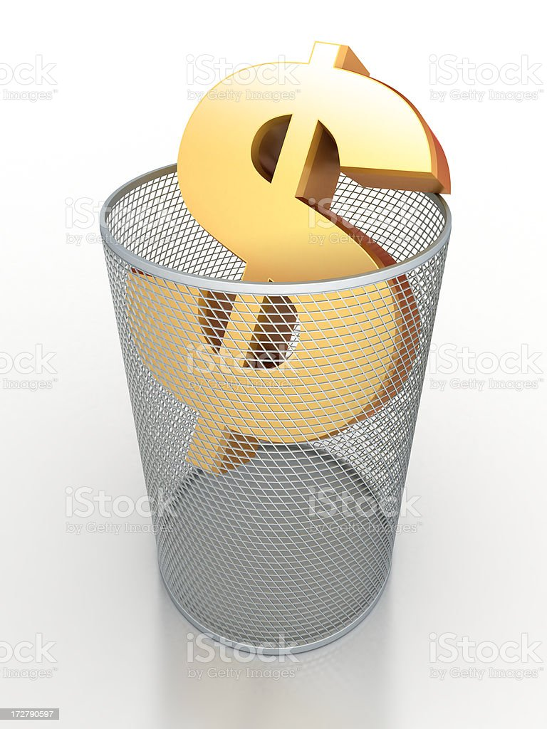 Dollar sign in waste basket royalty-free stock photo