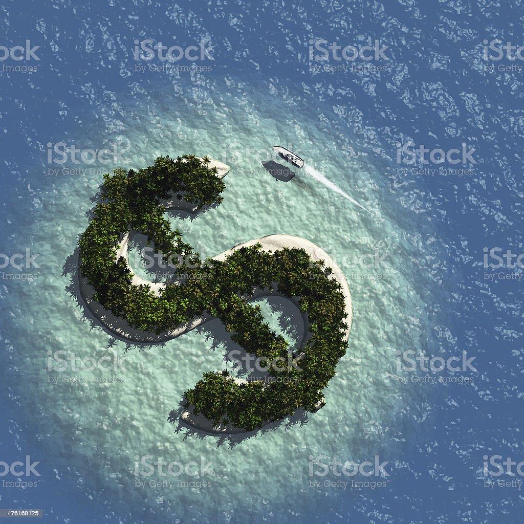 Dollar Sign Island stock photo