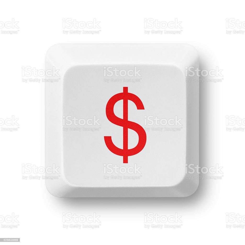 Dollar sign key isolated on white stock photo