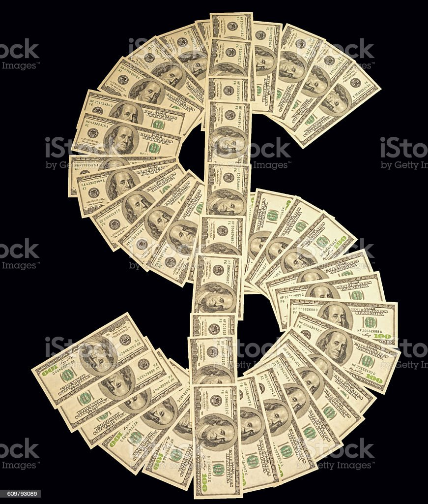Dollar sign made with many 100 dollar banknotes stock photo