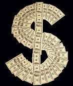 Dollar sign made with many 100 dollar banknotes